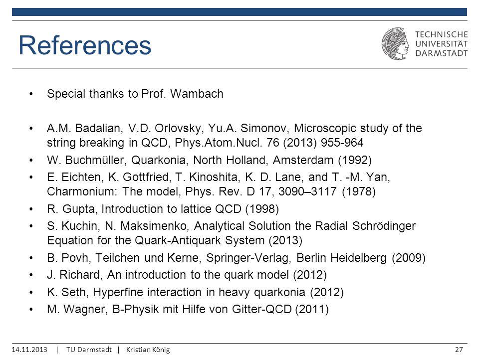 14.11.2013 | TU Darmstadt | Kristian König27 References Special thanks to Prof.