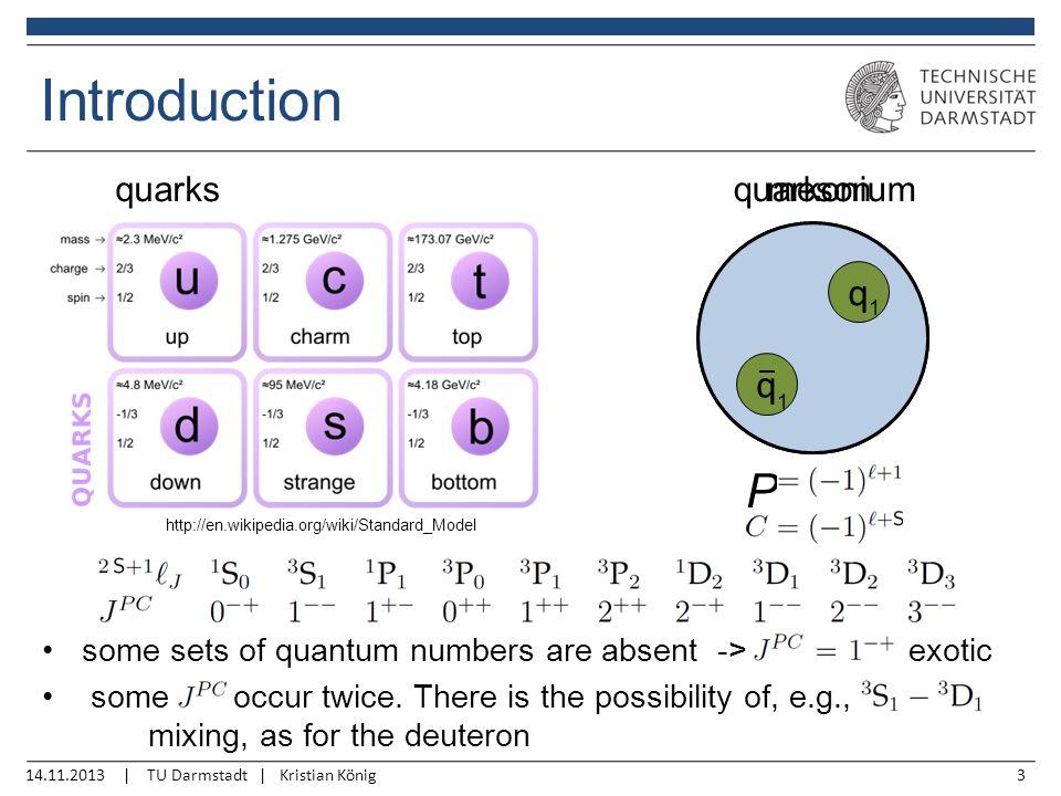 14.11.2013 | TU Darmstadt | Kristian König3 Introduction http://en.wikipedia.org/wiki/Standard_Model q q 2 1 q q 1 1 mesonquarkoniumquarks P some sets of quantum numbers are absent -> exotic some occur twice.