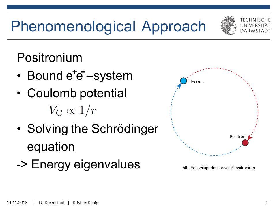 14.11.2013 | TU Darmstadt | Kristian König4 Phenomenological Approach Positronium Bound e e –system Coulomb potential Solving the Schrödinger equation -> Energy eigenvalues http://en.wikipedia.org/wiki/Positronium + -