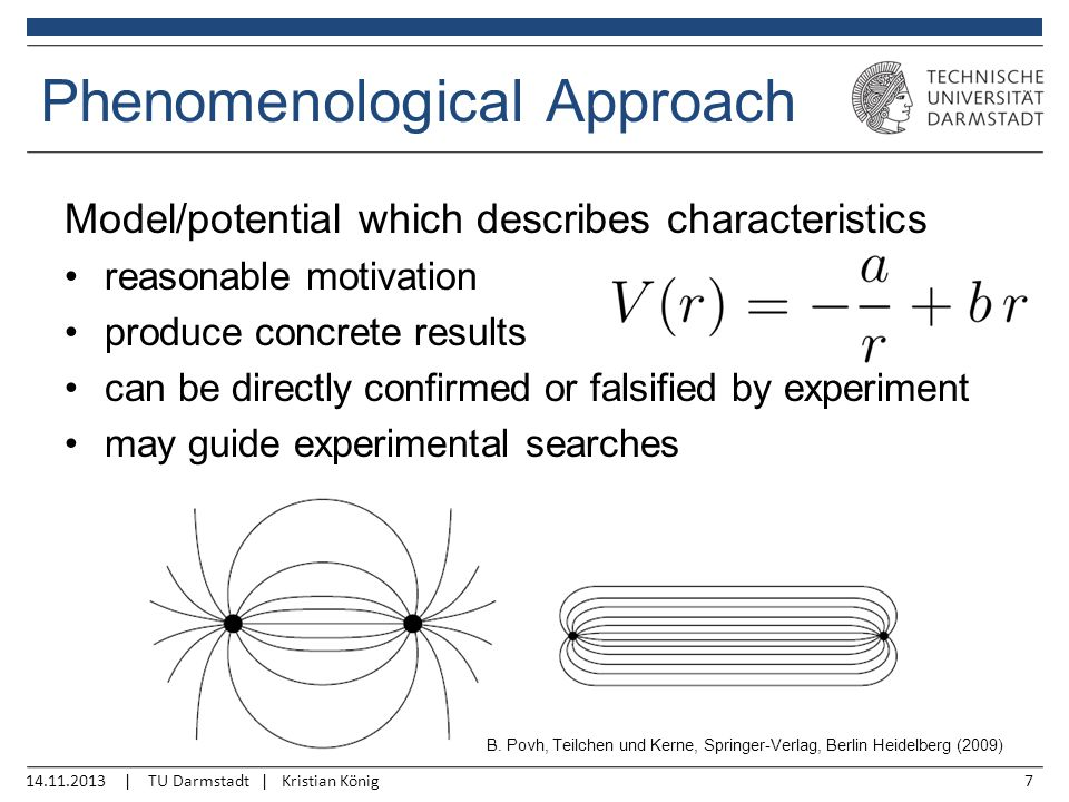 14.11.2013 | TU Darmstadt | Kristian König7 Model/potential which describes characteristics reasonable motivation produce concrete results can be directly confirmed or falsified by experiment may guide experimental searches Phenomenological Approach B.