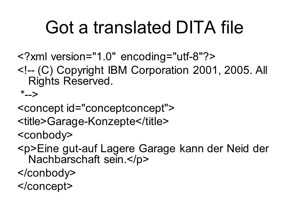 Got a translated DITA file <!-- (C) Copyright IBM Corporation 2001, 2005.