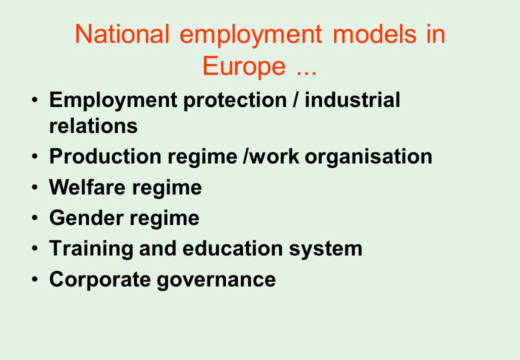 National employment models in Europe...