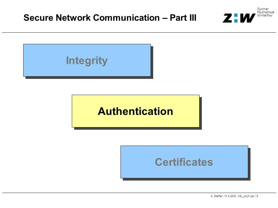 A. Steffen, 10.4.2000, KSy_Auth.ppt 13 Zürcher Hochschule Winterthur Secure Network Communication – Part III Integrity Authentication Certificates