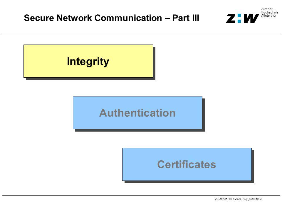 A. Steffen, 10.4.2000, KSy_Auth.ppt 2 Zürcher Hochschule Winterthur Secure Network Communication – Part III Integrity Authentication Certificates