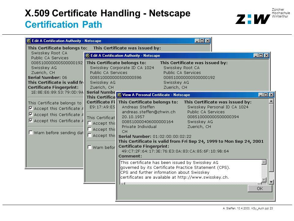 A. Steffen, 10.4.2000, KSy_Auth.ppt 23 Zürcher Hochschule Winterthur X.509 Certificate Handling - Netscape Certification Path