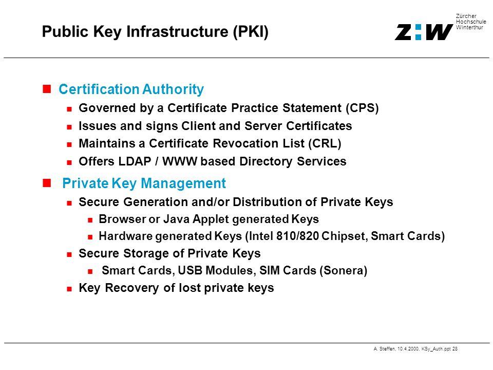 A. Steffen, 10.4.2000, KSy_Auth.ppt 28 Zürcher Hochschule Winterthur Public Key Infrastructure (PKI) Certification Authority Governed by a Certificate