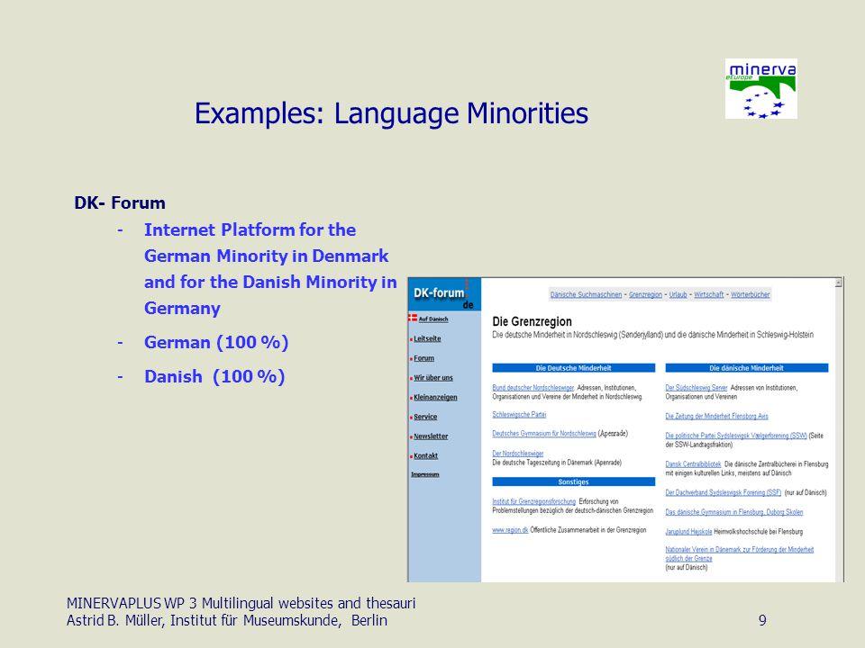 MINERVAPLUS WP 3 Multilingual websites and thesauri Astrid B.