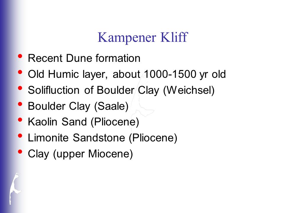 Kampener Kliff Recent Dune formation Old Humic layer, about 1000-1500 yr old Solifluction of Boulder Clay (Weichsel) Boulder Clay (Saale) Kaolin Sand