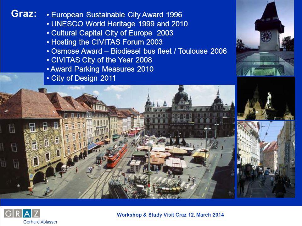 Workshop & Study Visit Graz 12. March 2014 Gerhard Ablasser Graz: European Sustainable City Award 1996 UNESCO World Heritage 1999 and 2010 Cultural Ca
