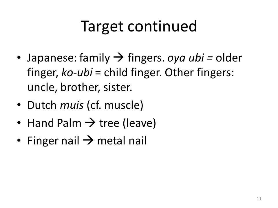 Target continued Japanese: family fingers. oya ubi = older finger, ko-ubi = child finger. Other fingers: uncle, brother, sister. Dutch muis (cf. muscl