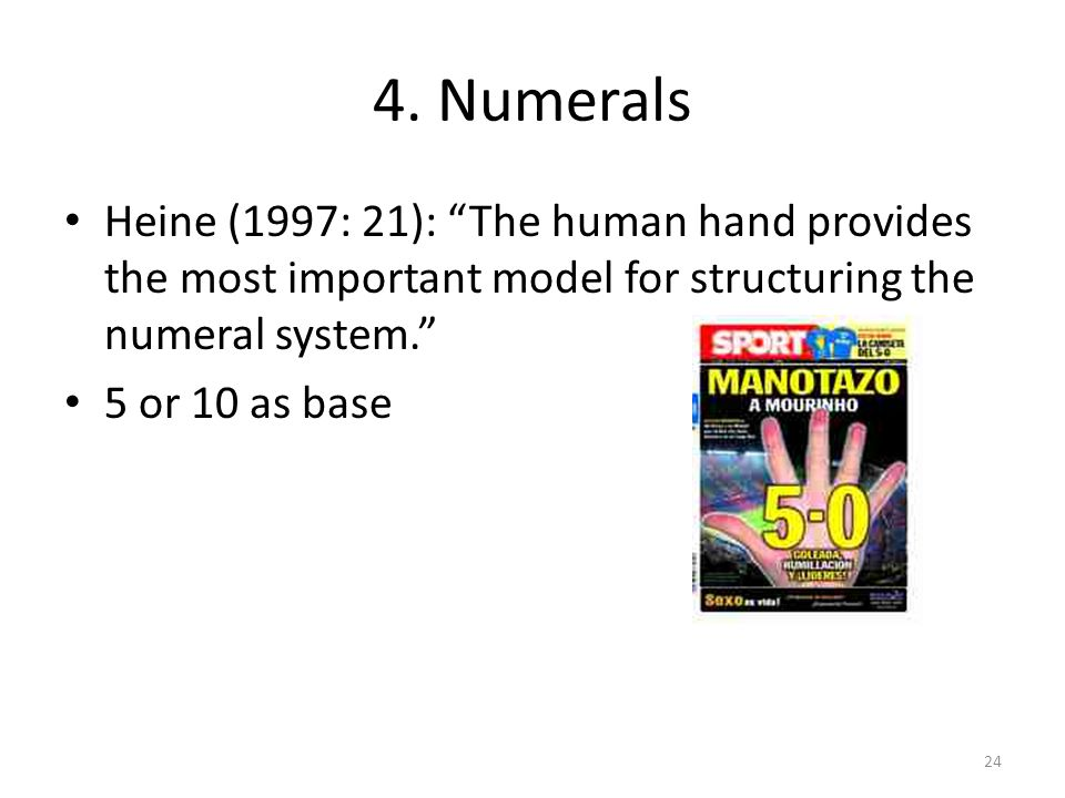4. Numerals Heine (1997: 21): The human hand provides the most important model for structuring the numeral system. 5 or 10 as base 24