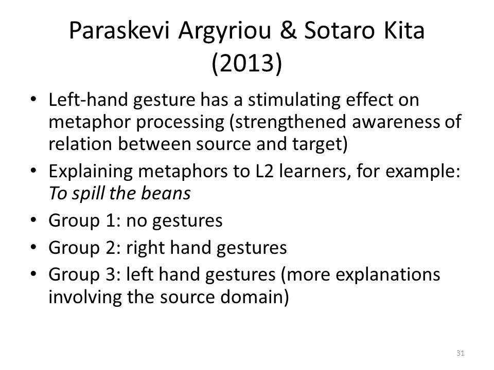 Paraskevi Argyriou & Sotaro Kita (2013) Left-hand gesture has a stimulating effect on metaphor processing (strengthened awareness of relation between