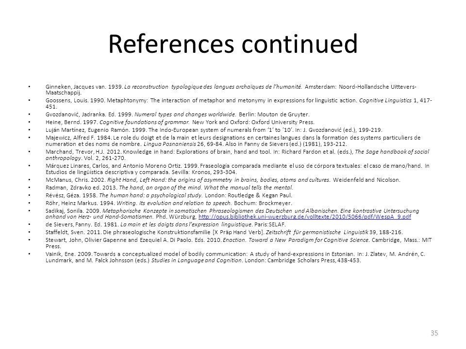 References continued Ginneken, Jacques van. 1939. La reconstruction typologique des langues archaïques de lhumanité. Amsterdam: Noord-Hollandsche Uitt