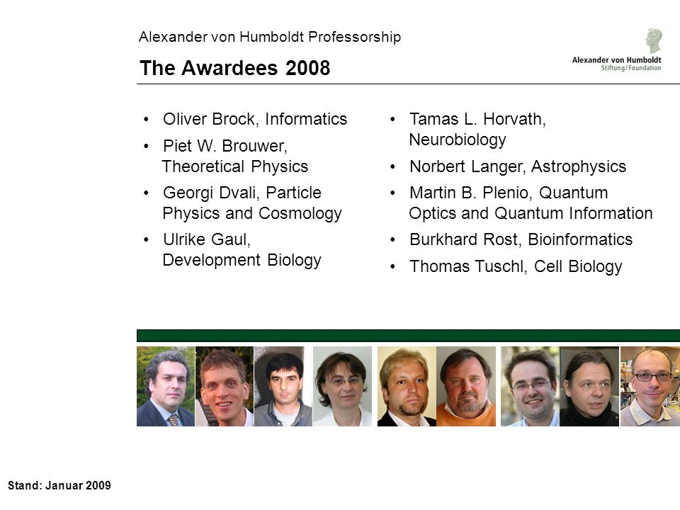 Stand: Januar 2009 Alexander von Humboldt Professorship The Successful Applicants 2008