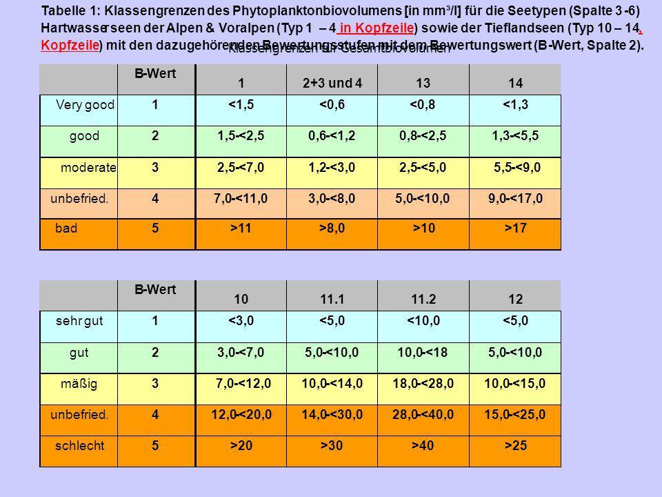 Klassengrenzen für Gesamtbiovolumen schlecht 5 >20 >30 >40 >25
