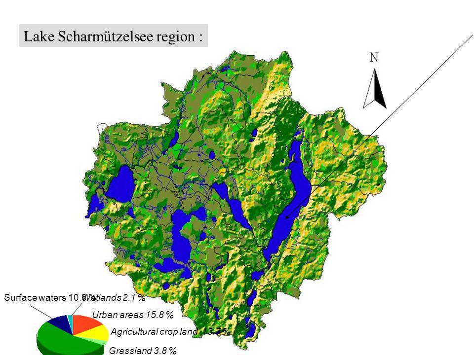 Lake Scharmützelsee region : Urban areas 15.8 % Agricultural crop land 13.7 % Grassland 3.8 % Forrest 53.2 % Surface waters 10.6 % Wetlands 2.1 %