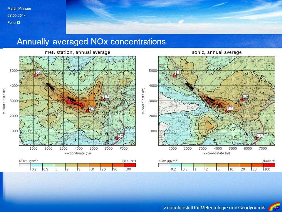 Zentralanstalt für Meteorologie und Geodynamik Annually averaged NOx concentrations 27.05.2014 Martin Piringer Folie 13