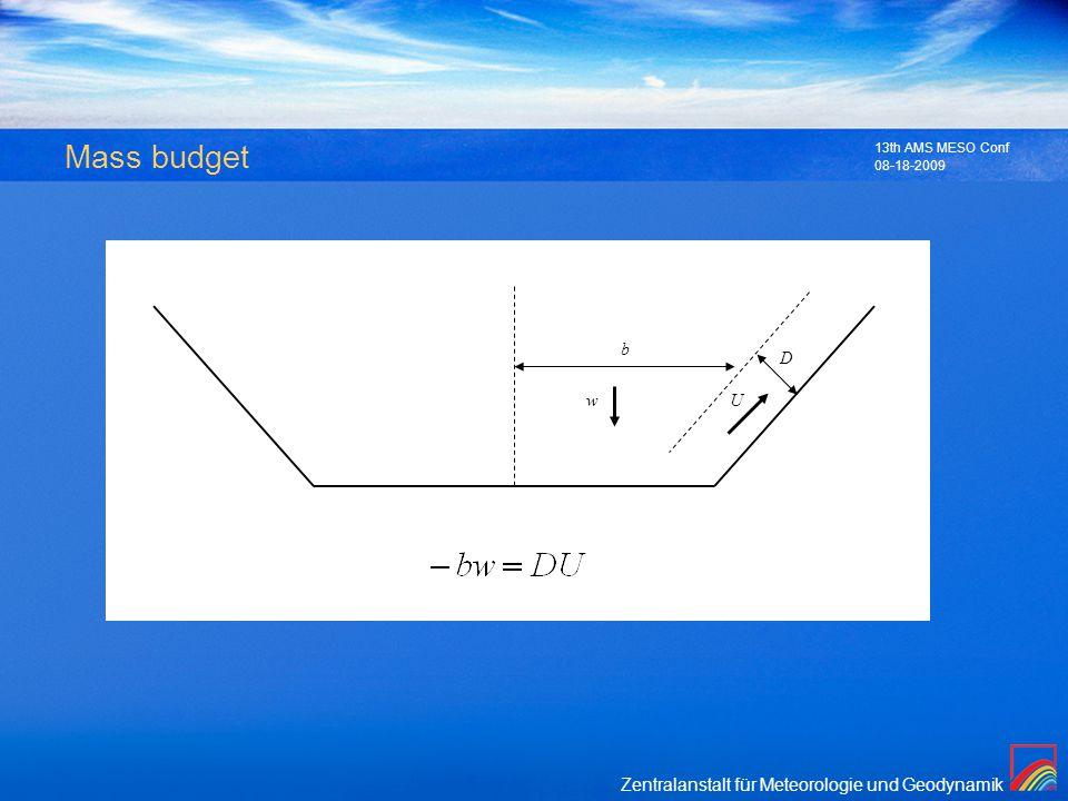 Zentralanstalt für Meteorologie und Geodynamik 08-18-2009 13th AMS MESO Conf Mass budget Uw b D