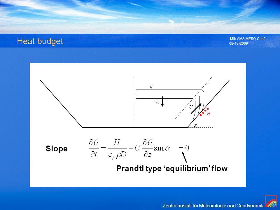 Zentralanstalt für Meteorologie und Geodynamik 08-18-2009 13th AMS MESO Conf Heat budget U H Slope Prandtl type equilibrium flow w