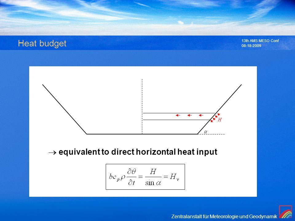 Zentralanstalt für Meteorologie und Geodynamik 08-18-2009 13th AMS MESO Conf Heat budget H equivalent to direct horizontal heat input