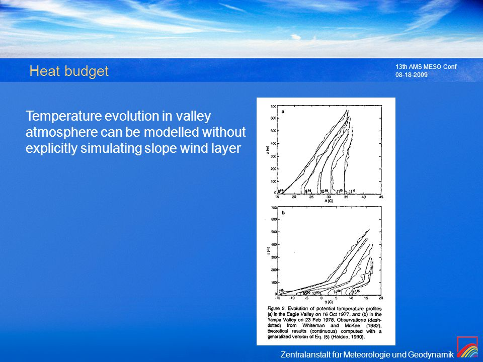 Zentralanstalt für Meteorologie und Geodynamik 08-18-2009 13th AMS MESO Conf Heat budget Temperature evolution in valley atmosphere can be modelled wi
