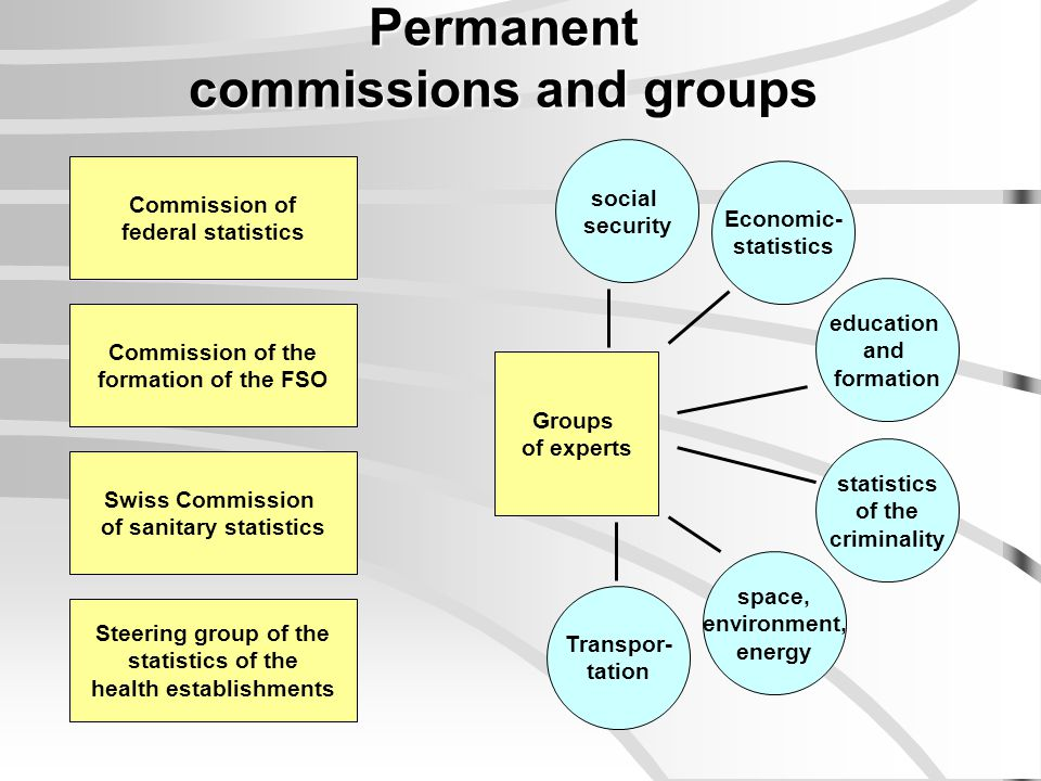 Permanent commissions and groups Commission of federal statistics Swiss Commission of sanitary statistics Steering group of the statistics of the heal