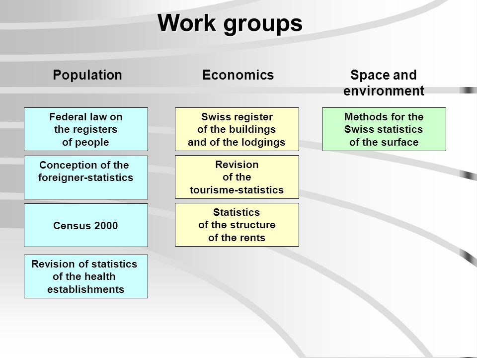Work groups Federal law on the registers of people Swiss register of the buildings and of the lodgings Conception of the foreigner-statistics Census 2