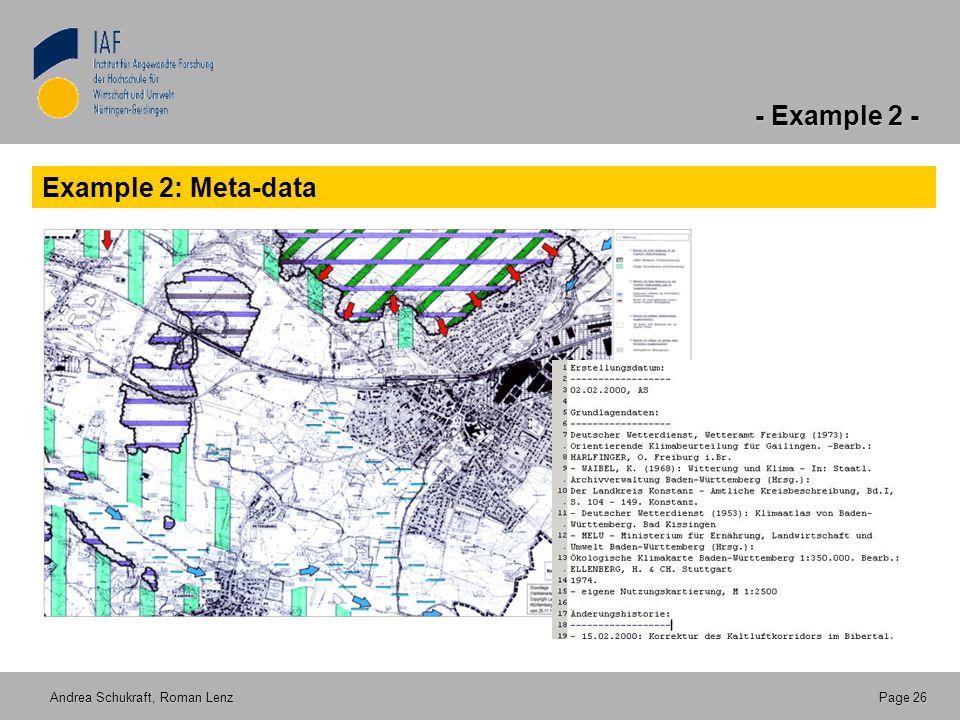 - Example 2 - Andrea Schukraft, Roman Lenz Page 26 Example 2: Meta-data