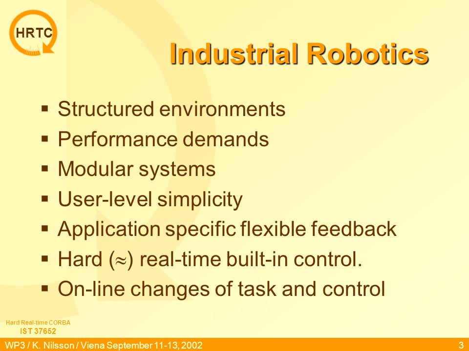HRTC IST 37652 Hard Real-time CORBA WP3 / K. Nilsson / Viena September 11-13, 20022 Outline Industrial robotics Labs: Applications & control. Interfac
