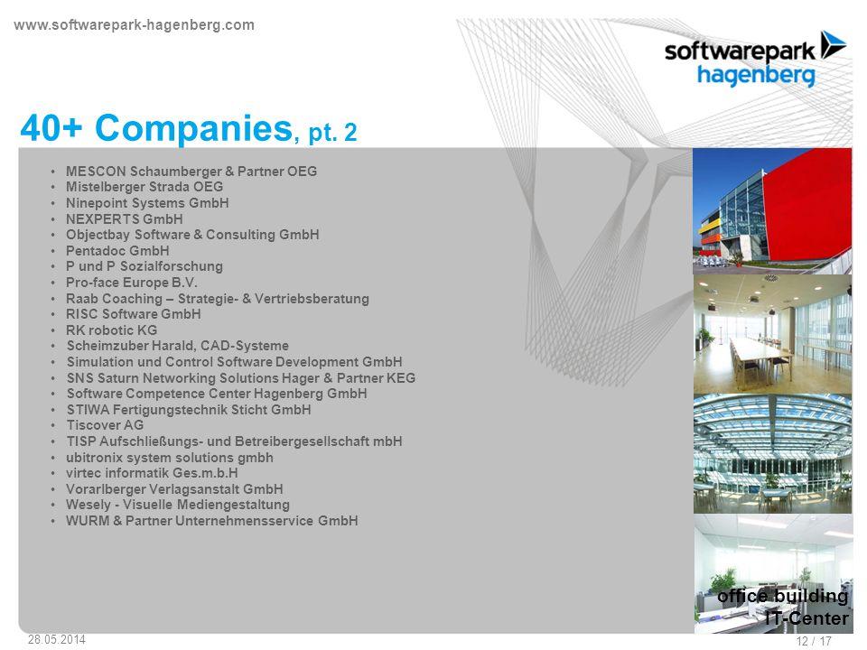 www.softwarepark-hagenberg.com 28.05.2014 12 / 17 40+ Companies, pt.