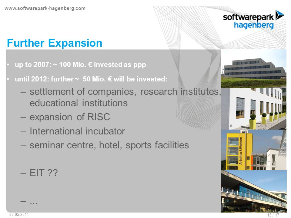www.softwarepark-hagenberg.com 28.05.2014 13 / 17 Further Expansion up to 2007: ~ 100 Mio.