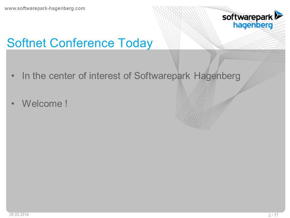 www.softwarepark-hagenberg.com 28.05.2014 2 / 17 Softnet Conference Today In the center of interest of Softwarepark Hagenberg Welcome !