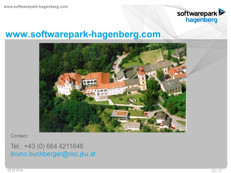 www.softwarepark-hagenberg.com 28.05.2014 23 / 17 www.softwarepark-hagenberg.com Contact: Tel.: +43 (0) 664 4211646 bruno.buchberger@risc.jku.at