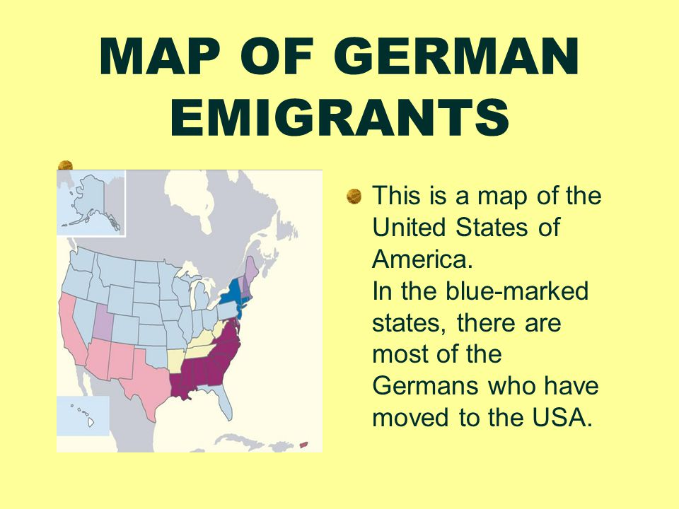 When and why did the Germans move to the USA.