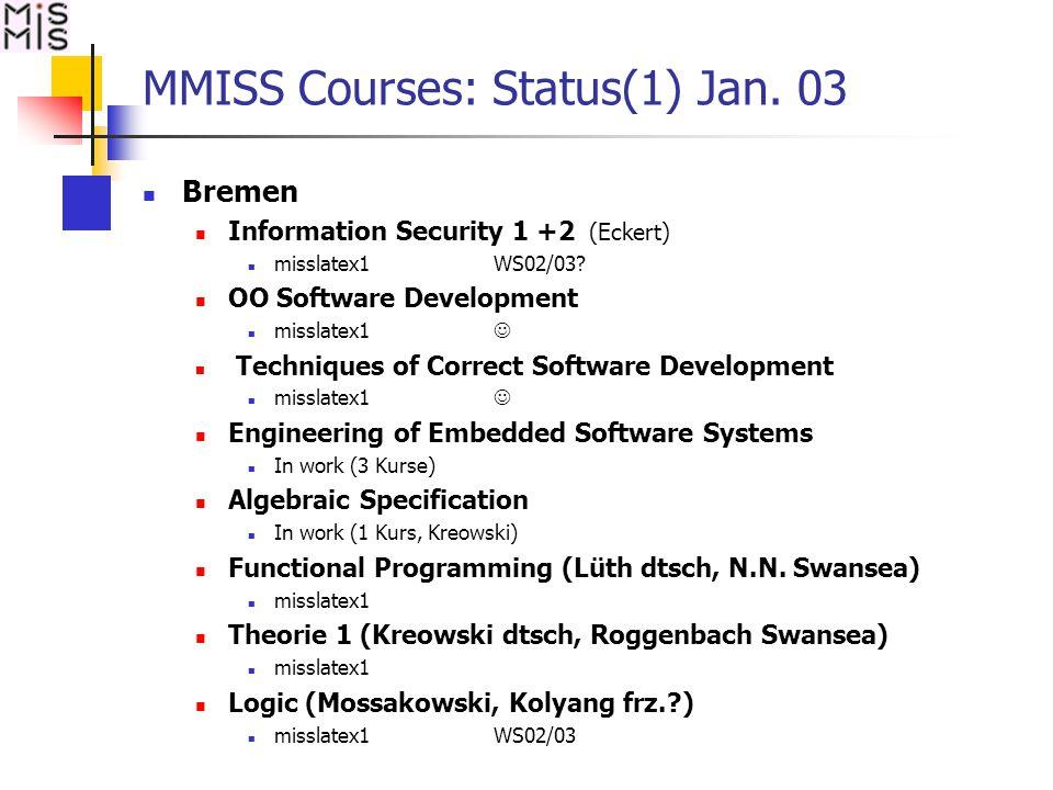 MMISS Courses: Status(1) Jan. 03 Bremen Information Security 1 +2 (Eckert) misslatex1 WS02/03.