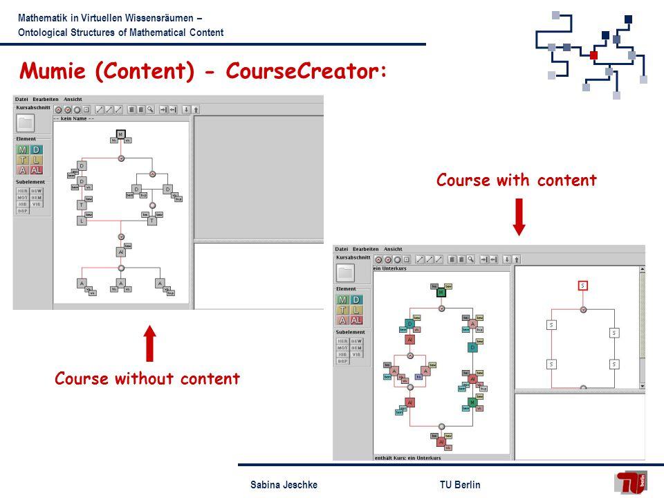 Sabina JeschkeTU Berlin Mathematik in Virtuellen Wissensräumen – Ontological Structures of Mathematical Content Mumie (Content) - CourseCreator: Course without content Course with content