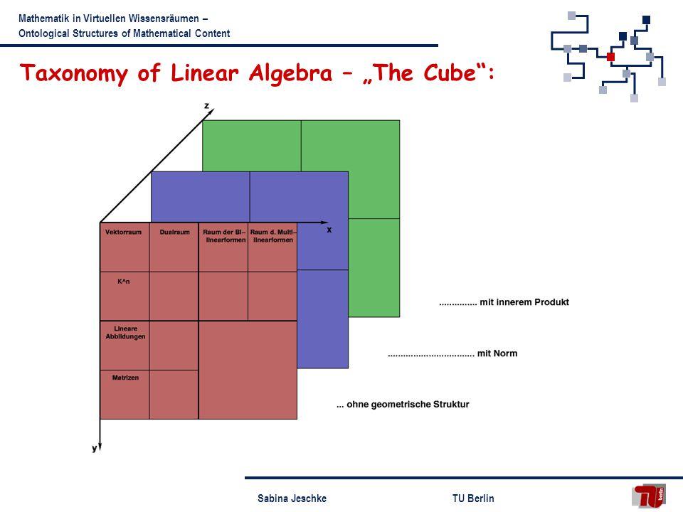 Sabina JeschkeTU Berlin Mathematik in Virtuellen Wissensräumen – Ontological Structures of Mathematical Content Taxonomy of Linear Algebra – The Cube: hu