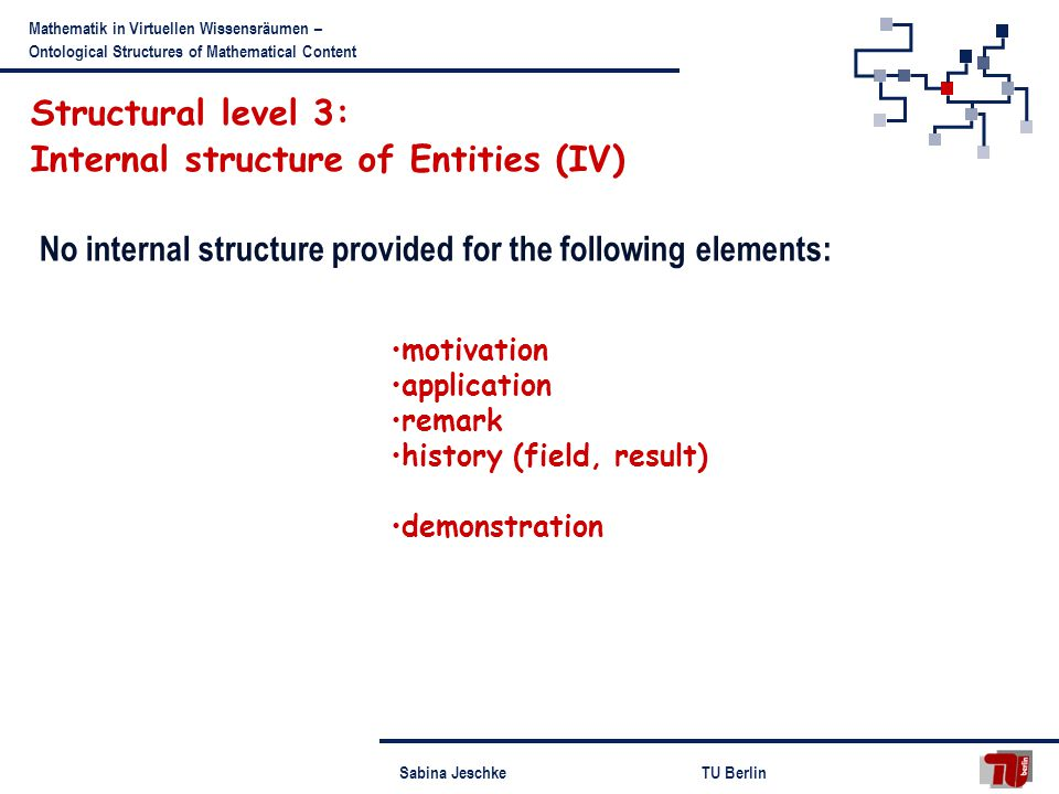 Sabina JeschkeTU Berlin Mathematik in Virtuellen Wissensräumen – Ontological Structures of Mathematical Content No internal structure provided for the following elements: motivation application remark history (field, result) demonstration Structural level 3: Internal structure of Entities (IV)