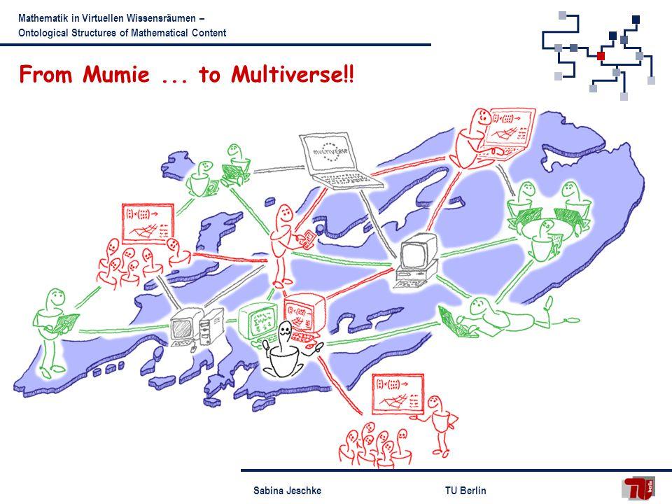 Sabina JeschkeTU Berlin Mathematik in Virtuellen Wissensräumen – Ontological Structures of Mathematical Content From Mumie...