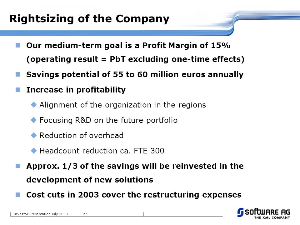 27Investor Presentation July 2003 Our medium-term goal is a Profit Margin of 15% (operating result = PbT excluding one-time effects) Savings potential