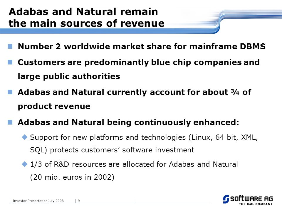 9Investor Presentation July 2003 Number 2 worldwide market share for mainframe DBMS Customers are predominantly blue chip companies and large public a
