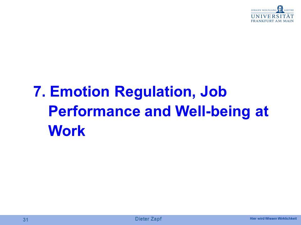 Hier wird Wissen Wirklichkeit Dieter Zapf 31 7. Emotion Regulation, Job Performance and Well-being at Work