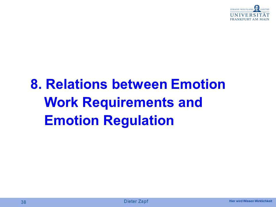 Hier wird Wissen Wirklichkeit Dieter Zapf 38 8. Relations between Emotion Work Requirements and Emotion Regulation
