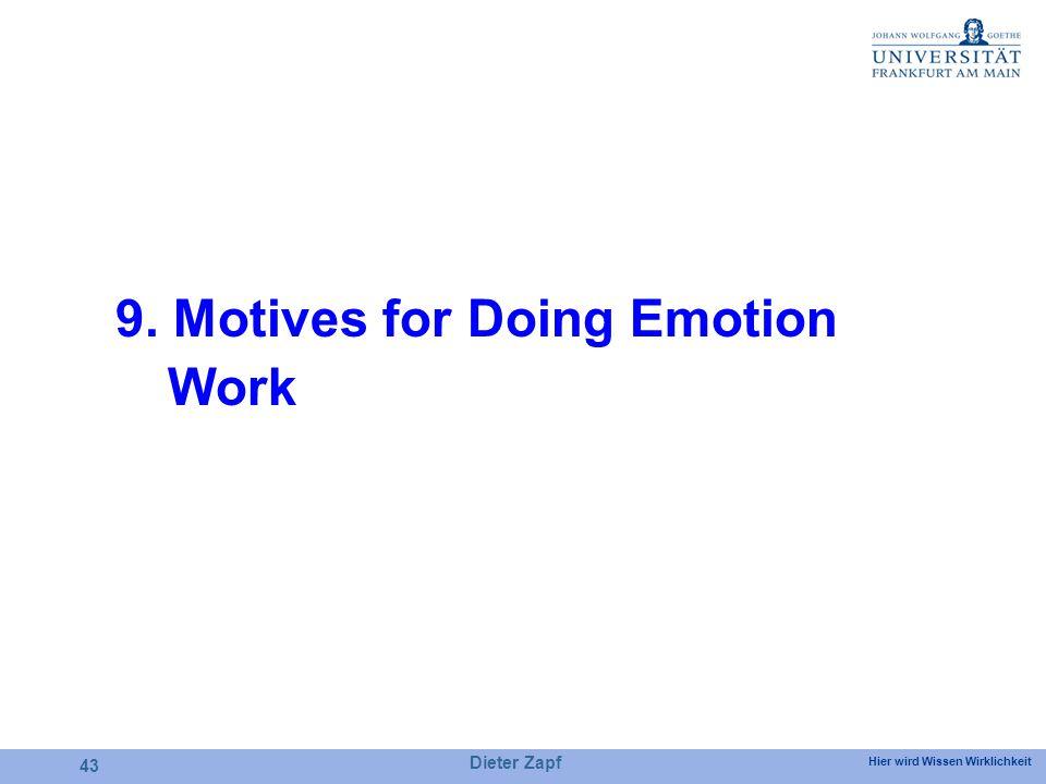 Hier wird Wissen Wirklichkeit Dieter Zapf 43 9. Motives for Doing Emotion Work