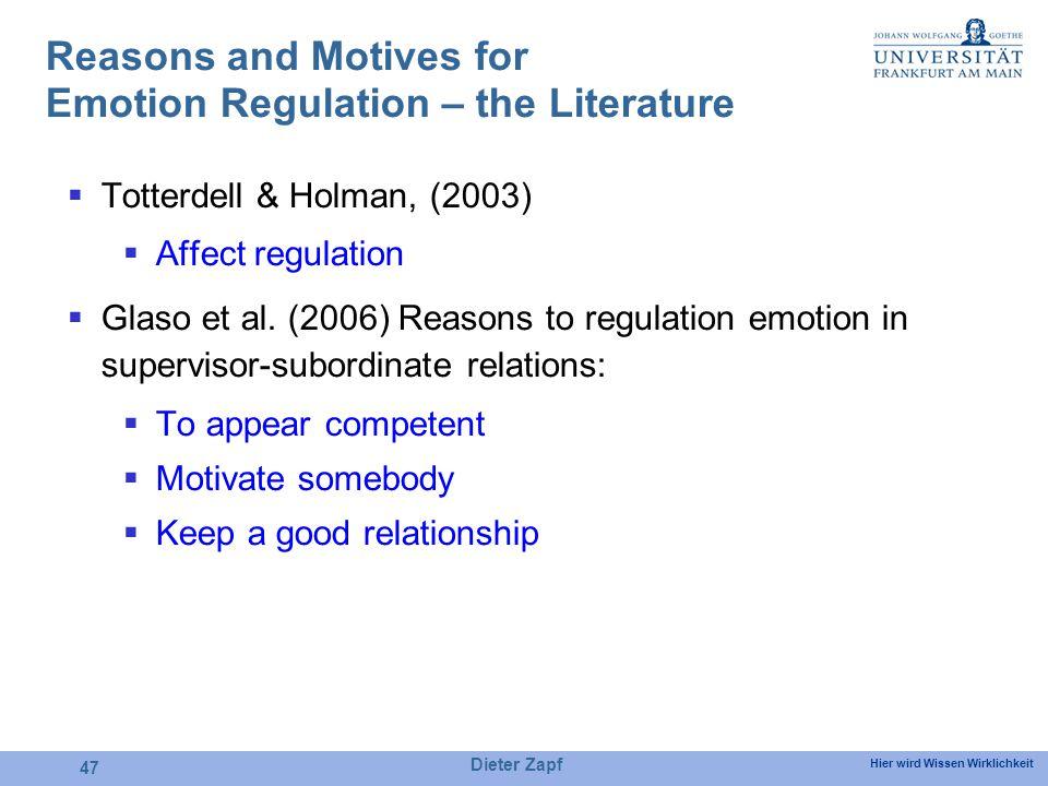 Hier wird Wissen Wirklichkeit Dieter Zapf 47 Reasons and Motives for Emotion Regulation – the Literature Totterdell & Holman, (2003) Affect regulation Glaso et al.