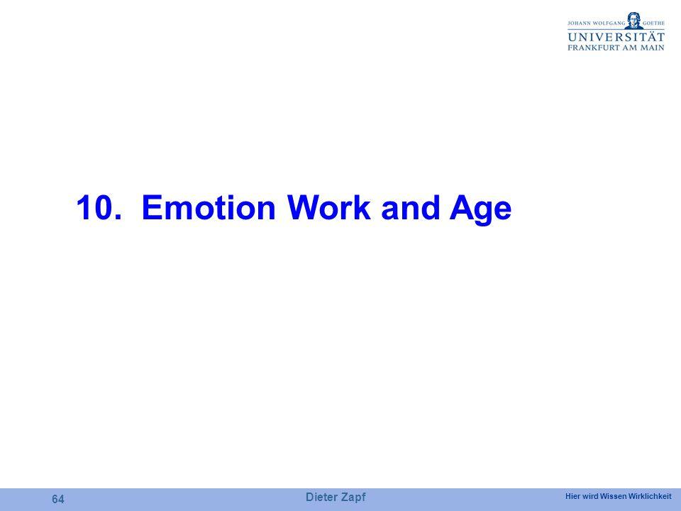Hier wird Wissen Wirklichkeit Dieter Zapf 64 10. Emotion Work and Age