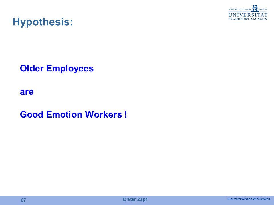 Hier wird Wissen Wirklichkeit Dieter Zapf 67 Hypothesis: Older Employees are Good Emotion Workers !