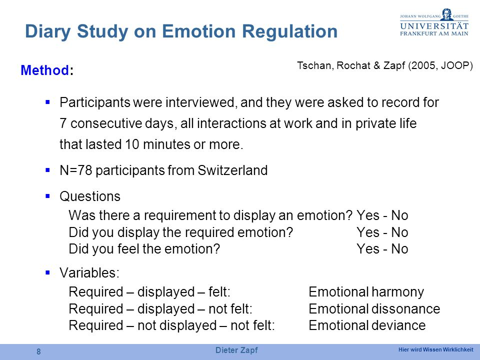 Hier wird Wissen Wirklichkeit Dieter Zapf 8 Diary Study on Emotion Regulation Method: Participants were interviewed, and they were asked to record for 7 consecutive days, all interactions at work and in private life that lasted 10 minutes or more.