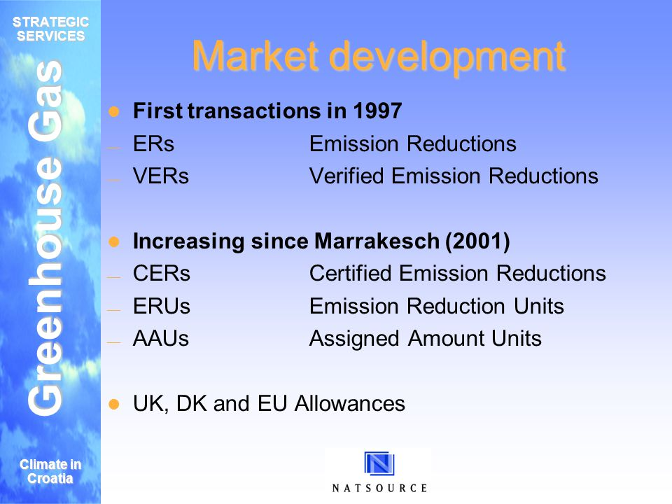 Greenhouse Gas STRATEGIC SERVICES Climate in Croatia Market development First transactions in 1997 ERsEmission Reductions VERsVerified Emission Reductions Increasing since Marrakesch (2001) CERsCertified Emission Reductions ERUsEmission Reduction Units AAUsAssigned Amount Units UK, DK and EU Allowances