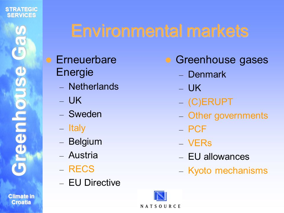 Greenhouse Gas STRATEGIC SERVICES Climate in Croatia Warum jetzt handeln Käufers Hedge Risiko Handeln Grünes Image Policy Entwicklung Diversifiziertes Portfolio Verkäufer Asset liquidieren Finanzierung der projekte & technology Brand Recognition Policy Entwicklung Capture revenue in case of Kyoto failure Emission reductions = Risiko & opportunity